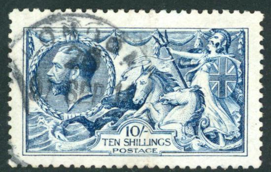 1915 D.L.R 10s blue, SG.412, cat. £875
