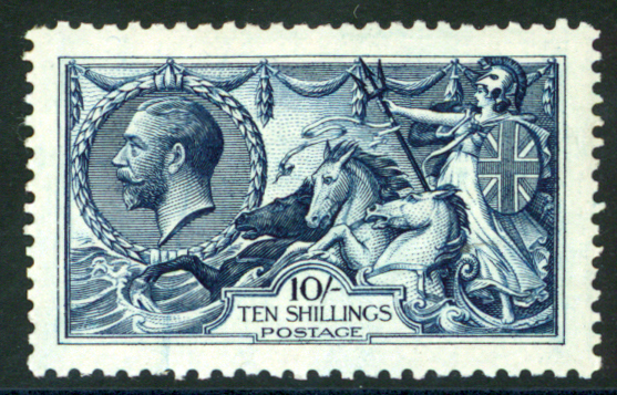1913 Waterlow 10s indigo-blue, M, SG.402