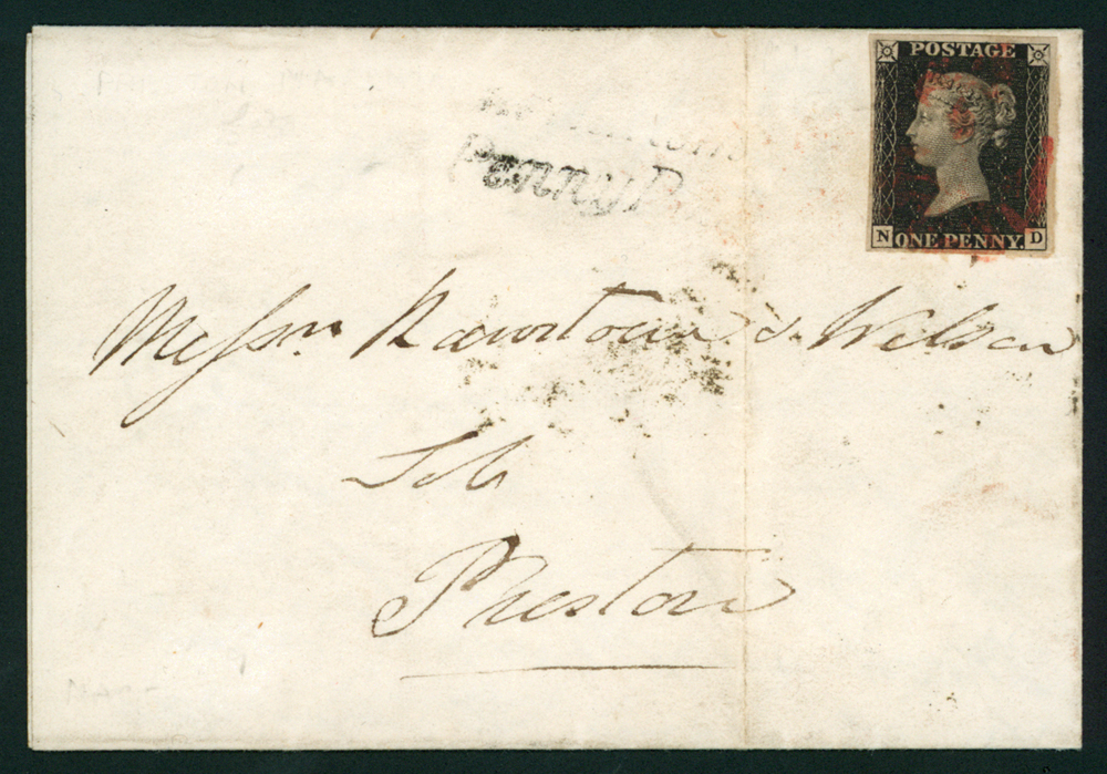 1841 Feb 3rd enitre letterfranked with 1d black Plate 9 ND, RPS Cert (1978)