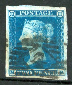 1841 2d blue, Plate 4, MF
