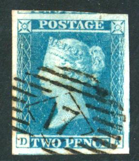 1841 2d blue, Plate 3 DA