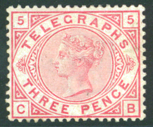 1876 Telegraph 3d carmine Imperial Crown