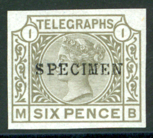 1876 Telegraph wmk spray sideways 6d grey imperforate