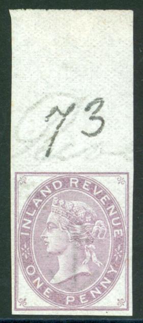 1876-81 1d purple marginal imprimatur Plate 16