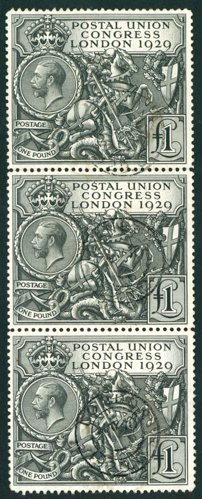 1929 PUC £1 strip of three, SG.438