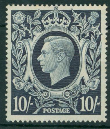 1939 10s dark blue, M example, SG.478ab
