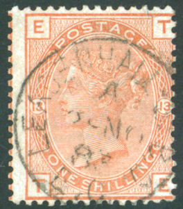 1881 wmk Imperial Crown 1s orange-brownn Pl.13