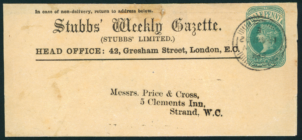 1902 ½d green wrapper advertising 'Stubbs' Weekly Gazette.