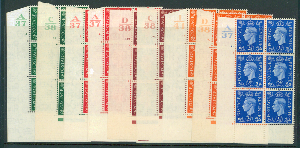1937 KGVI dark colour defins in corner marginal block of six