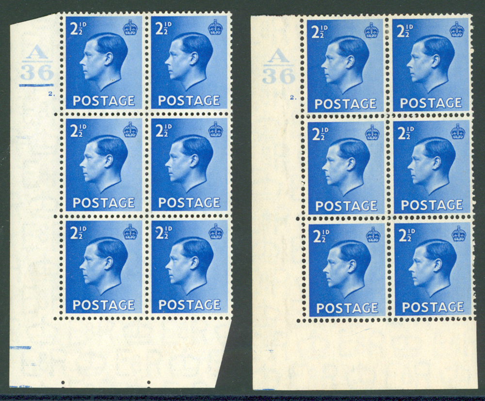 1936 2½d bright blue SG.460 corner marginal UM control block of six