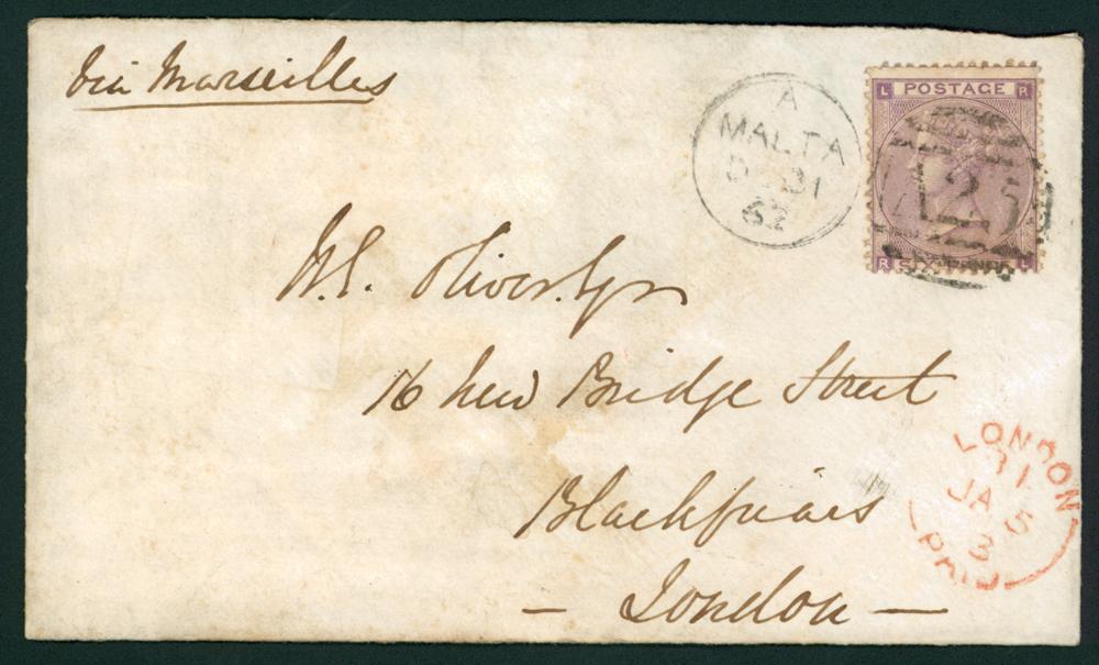 Malta 1863 envelope franked 6d lilac