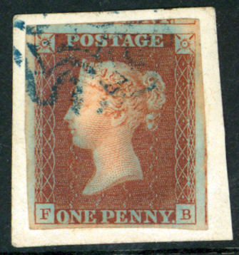 1841 penny red brown FB, blue Maltese Cross