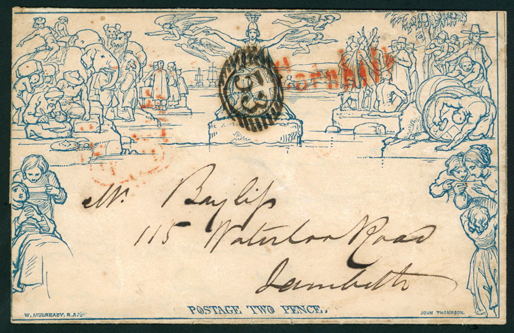 1851 Twopence lettersheet used locally in London, Britannia