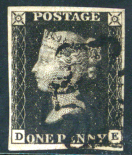 1840 1d Black Plate 8 DE