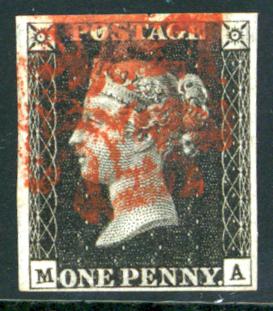 1840 1d Black Plate 6 MA