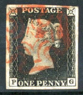 1840 1d Black Plate 4 PG