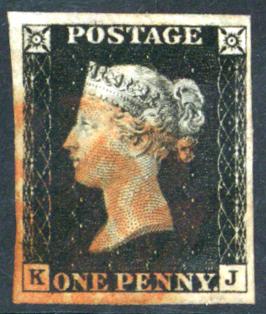 1840 1d Black Plate 4 KJ