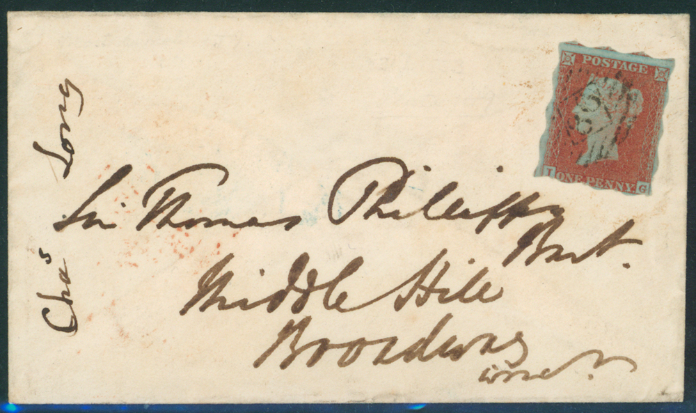 1852 1d Treasury Roulette, lettered IG