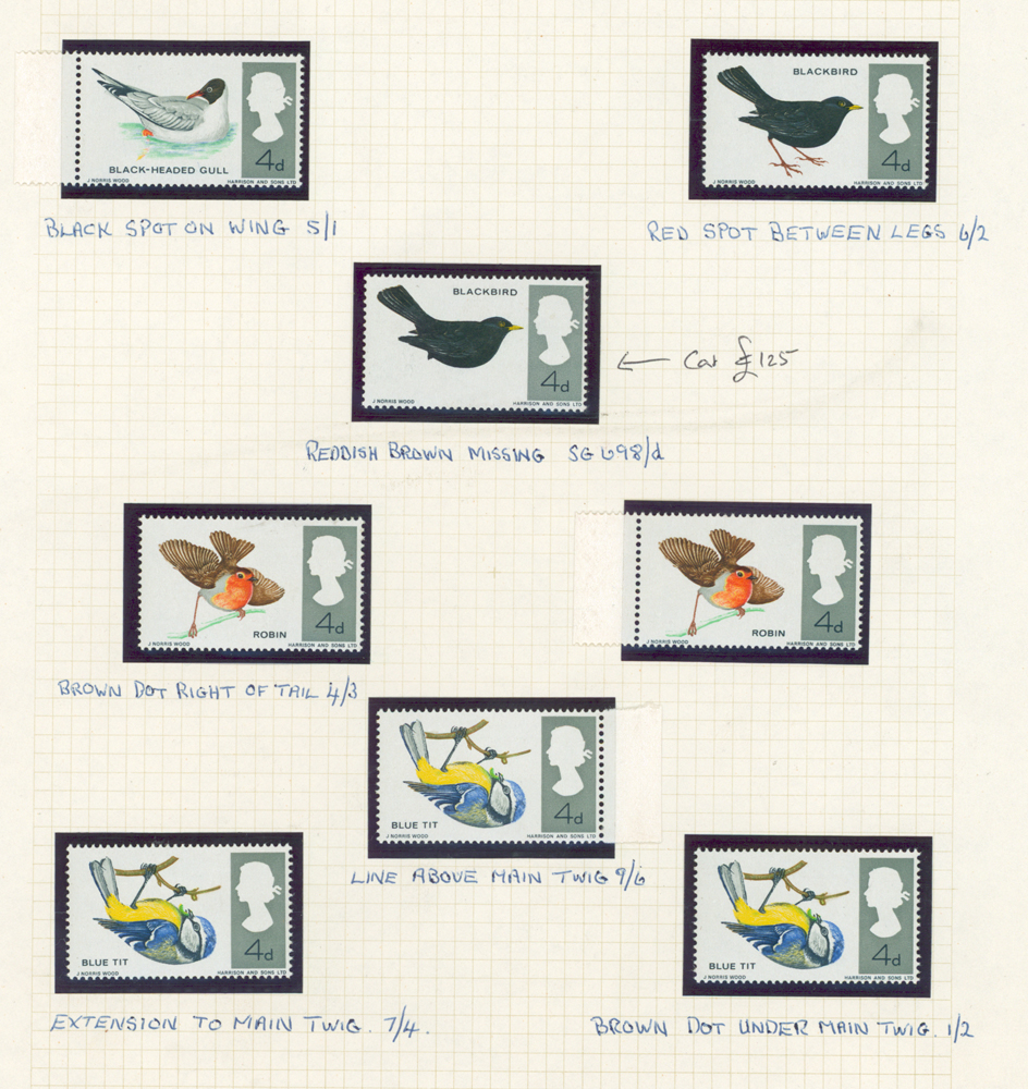 1966 Birds 4d Backbird with missing reddish brown (legs), plus 6 other birds
