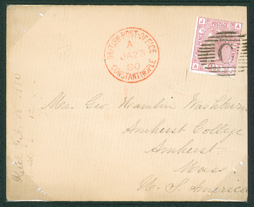 British Levant 1880 cover from Constantinople to Amherst, Mass, USA