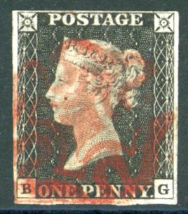1840 1d Black Plate 2 BG