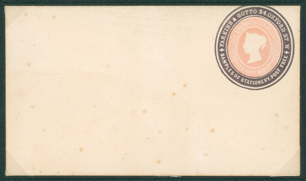 1870 QV 1d pink 'Parkins & Grotto' purple advertising ring envelope