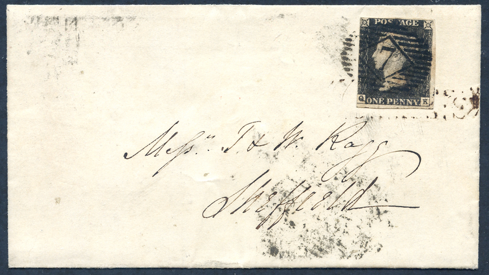 1844 July 17th cover from London to Sheffield franked Pl.4 QK