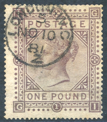 1867 wmk Maltese Cross £1 brown lilac VFU