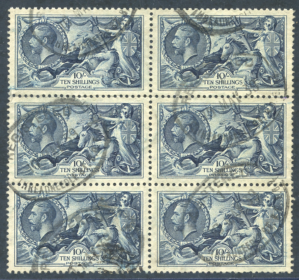1934 Re-engraved 10s indigo VFU block of six