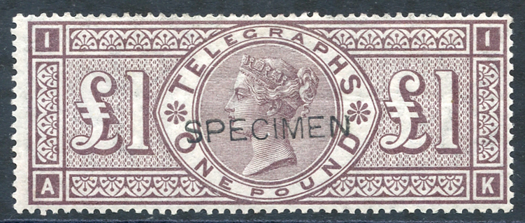 1876 £1 brown lilac optd SPECIMEN Type 8