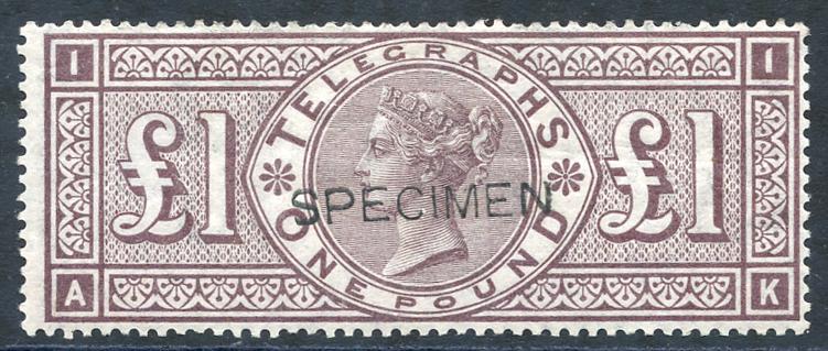 1876 £1 brown lilac optd SPECIMEN Type 8