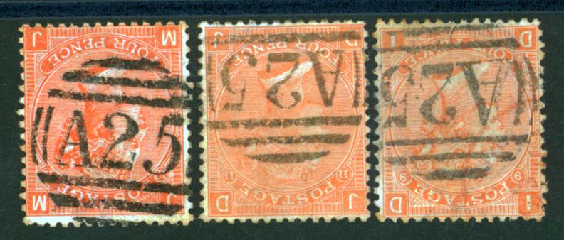 Malta 1865-67 4d vermilion Plate 9, 11 & 12, SG.Z49. Cat. £54. (3)