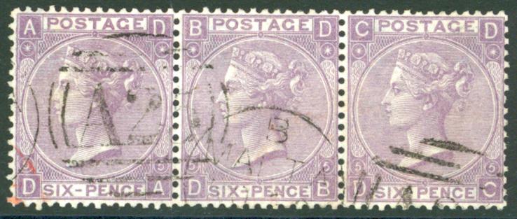 Malta 1865-67 wmk Emblems 6d lilac, horizontal strip of three, SG.Z57. Cat. £90++