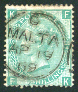 Malta 1867-80 1s green Plate 4 . SG.Z79. Cat. £32.