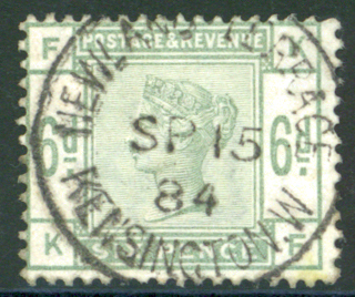 1883-84 6d dull green centred to upper left, SG.194. Cat. £240.