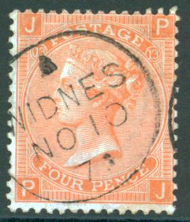 1872 wmk large garter 4d vermilion, SG.94. Cat. £75