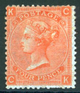 1867 wmk large garter 4d vermilion Plate 9, SG.94. Cat. £600