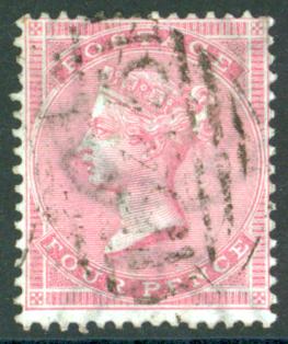 1856 wmk medium garter 4d pale carmine, SG.64, Cat. £500
