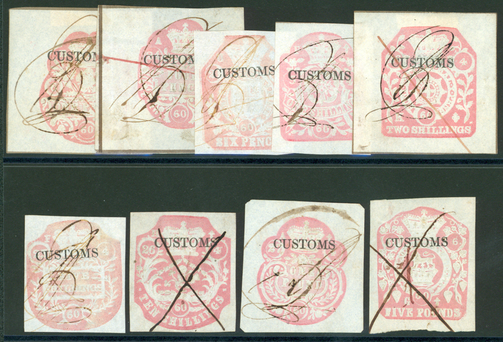 CUSTOMS 1860 Provisional issue Barefoot from 1/9