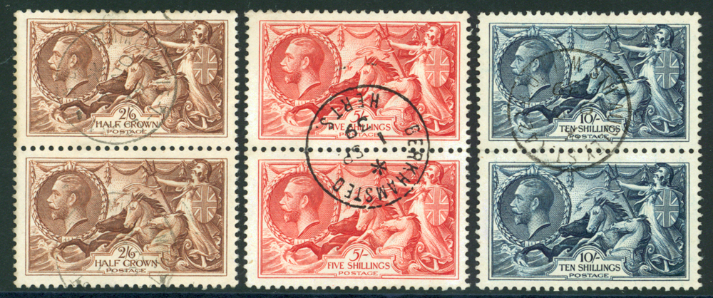 1934 re-engraved set of three in vertical pairs