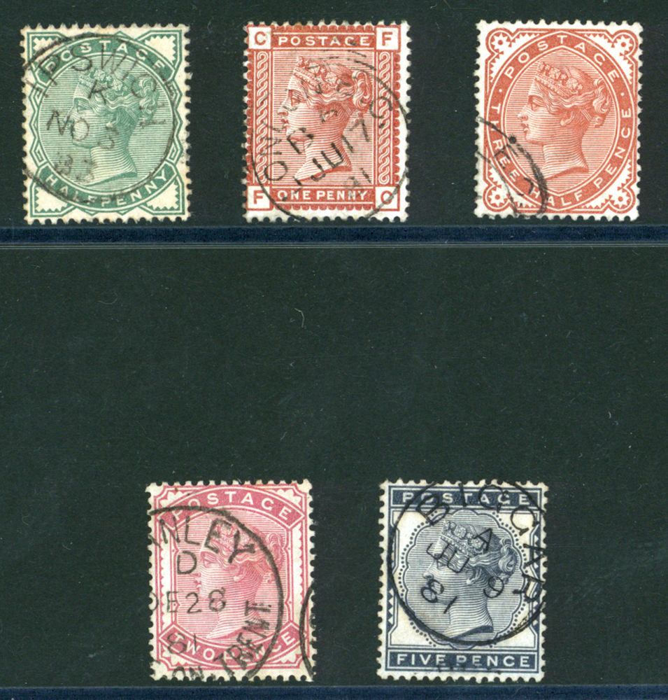 1880-81 ½d to 5s set of five