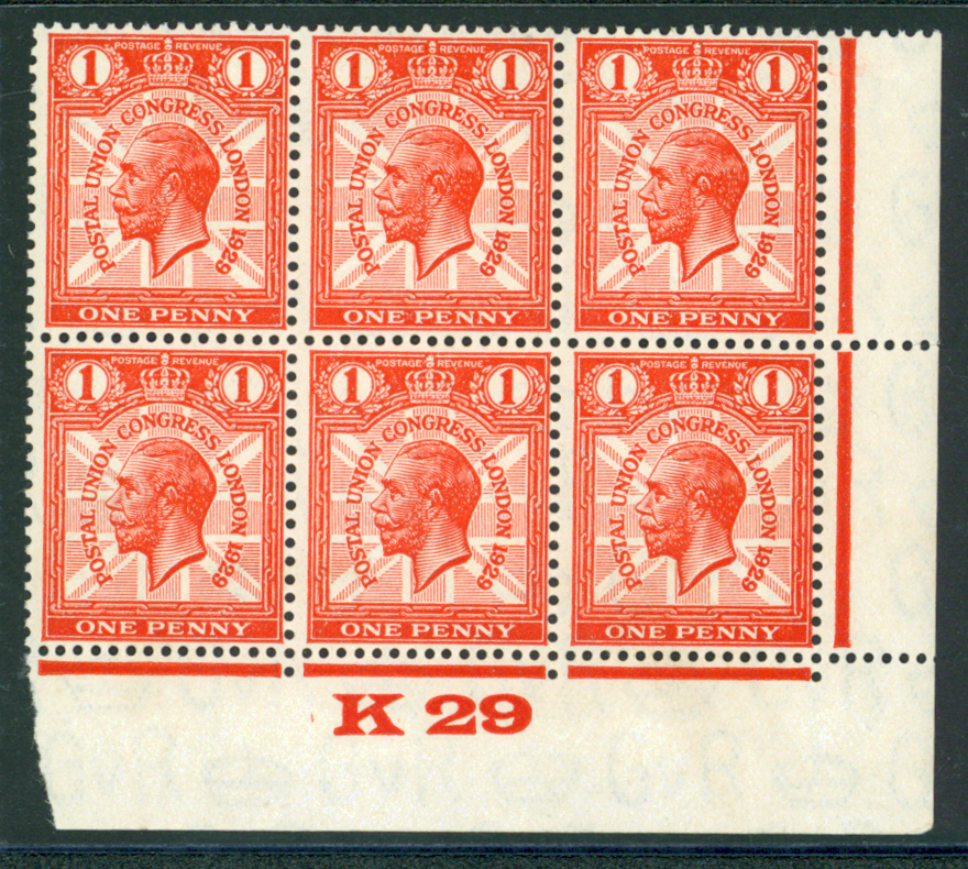 1929 PUC 1d scarlet control block of six