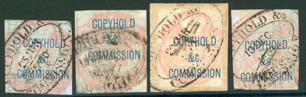 COPYHOLD & COMMISSION 1868 embossed. (4)