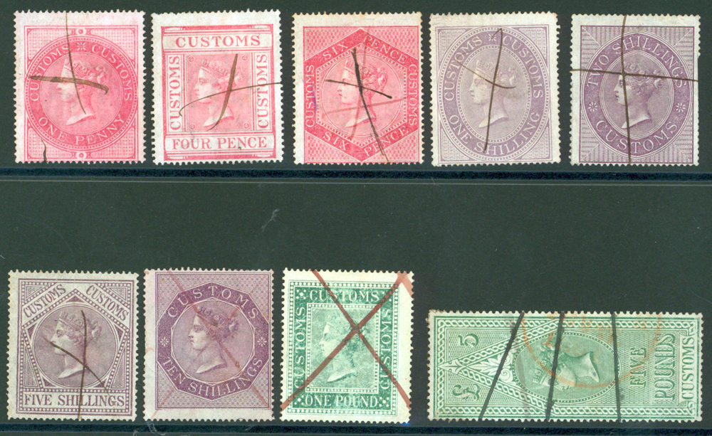 CUSTOMS 1860 1d to £5 from Barefoot 11/19