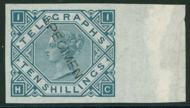 1877 10s slate blue lett HC right hand maginal