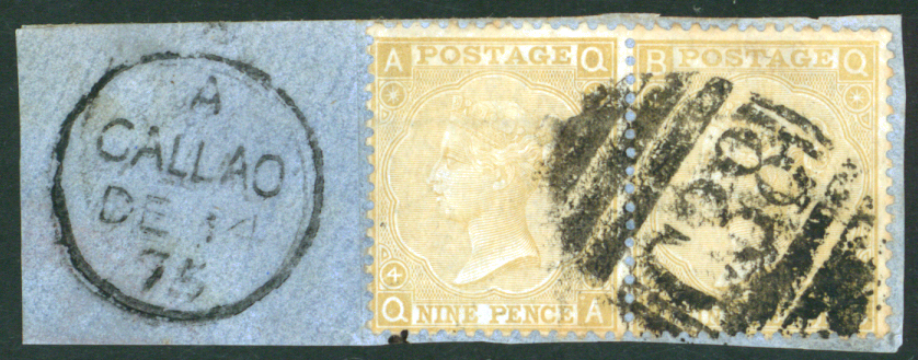 Peru 1867-80 9d pale straw Plate 4. A horizontal pair.
