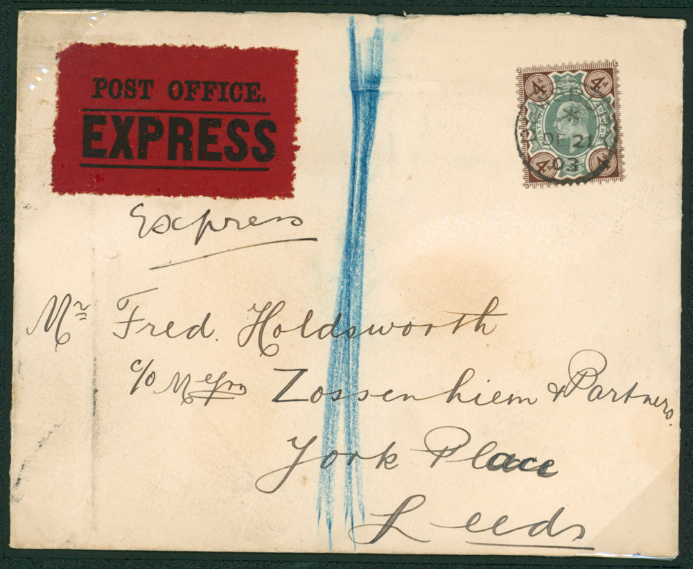 1903 Dec 21st cover sent Express from Dewsbury to Leeds