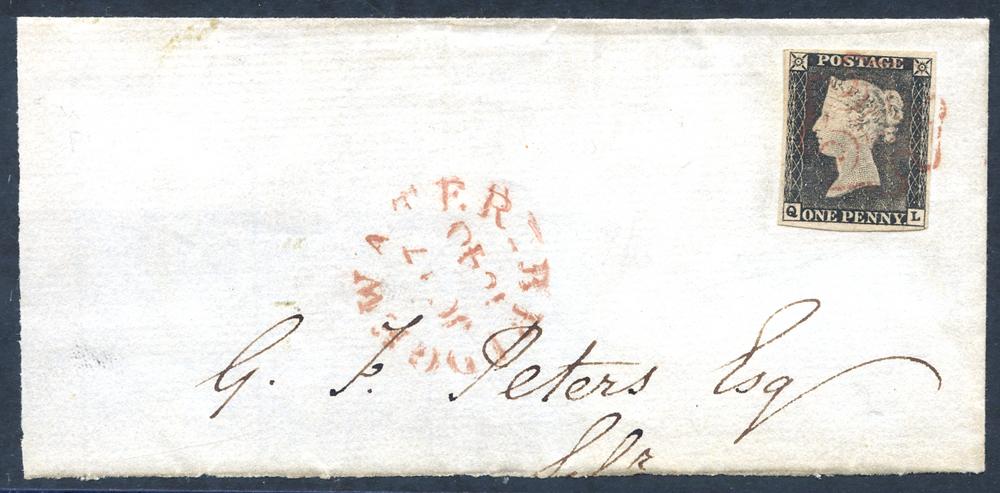 1840 1d black Plate 1a QL