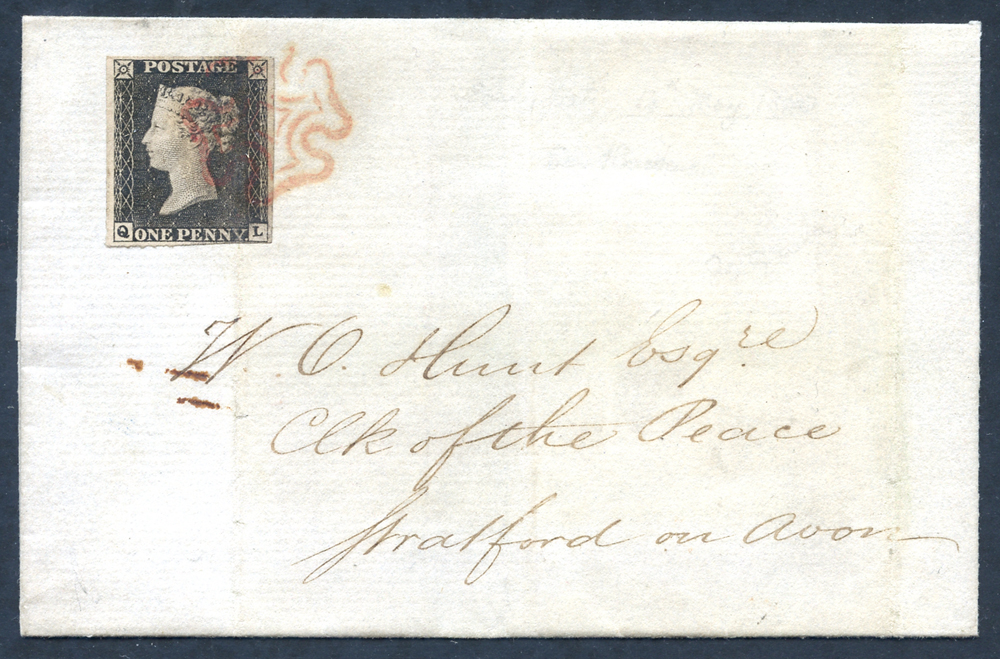 1840 May 14th cover from Bimingham to Stratford-on-Avon