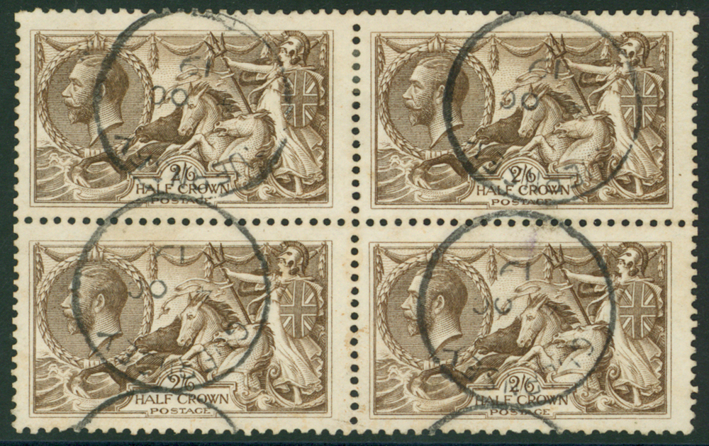 1918 Bradury 2/6d reddish brown, block of four